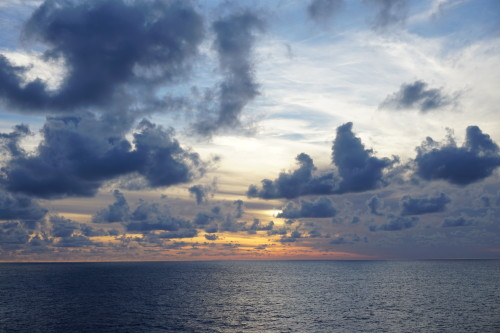 sunset, sky, dusk, ocean, sea, clouds