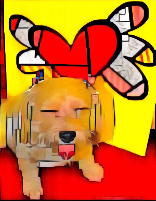 dogs, designer dogs, Yorkipoo, yorkie poo, hearts, britto, cubism, digital art, pet portrait